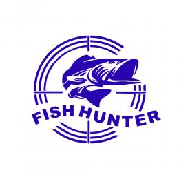 Kişiye Tekneye Yatlara Özel Fishhunter Logo Yazısı Sticker Yapıştırma 100x20cm