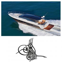 Kişiye Tekneye Yatlara Özel Osmanlı Turası Logo Yazısı Sticker Yapıştırma 100x20cm