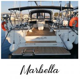 Kişiye Tekneye Yatlara Özel Marbella Yazısı Sticker Yapıştırma 100x20cm