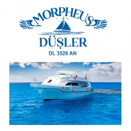 Kişiye Tekneye Yat'a Özel Morheus Düşler Yazısı Tasarımı Sticker Yapıştırma 70x50cm