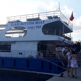 Tekneye Yat'a Özel Glass Bottom Boat Yazısı Sticker Yapıştırma 100x20cm