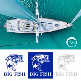 Kişiye Tekneye Özel  Big Fish Yazısı ve Balık Sticker Yapıştırma 120x70cm