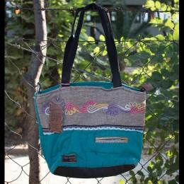 Old Cotton Cargo Kc Eva Bag Omuz Çantası 4005 Patchwork 3 Kadınlar için Omuz Çantası - Okul, Seyahat Çantası