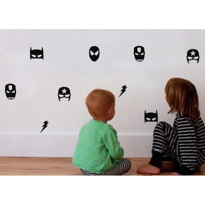 Süper hero maskesi duvar çıkartmaları çocuk çocuk yatak odası dekoru, erkek Hero flaş vinil sanat duvar çıkartmaları