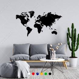 Dünya Haritası Duvar Oda Salon İş Yeri İçin Sticker 100x55cm