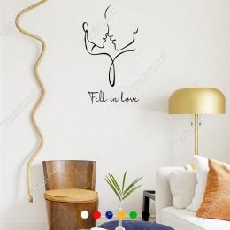 El Yazısı Fell İn Love Kadın Erkek Duvar Yazısı Sticker 60x33cm