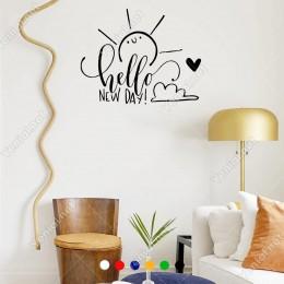 El Yazısı ile Sevimli Hello New Day Duvar Yazısı Sticker 60x48cm