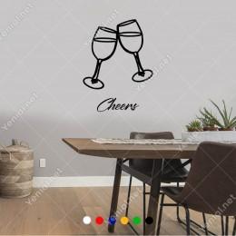 El Yazısı İle Yazılmış Cheers Yazısı ve Bardaklar  Sticker 60x44cm