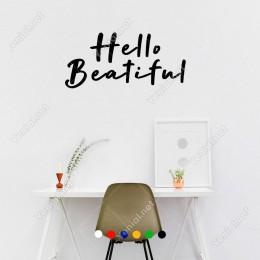 El Yazısı ile Yazılmış Hello Beatiful Yazısı Sticker 60x27cm