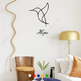El Yazısı İle Yazılmış Hope Yazısı ve Kuş Sticker 60x37cm