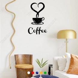 El Yazısı ile Yazılmış Kalp Şekli Fincan ve Coffe Yazısı Sticker 60x58cm