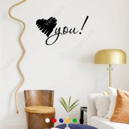 El Yazısı ile Yazılmış Kalp Şekli ve You Yazısı Sticker 60x33cm