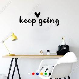 El Yazısı ile Yazılmış Keep Going Duvar Yazısı Sticker 60x21cm