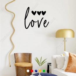 El Yazısı ile Yazılmış Love Duvar Yazısı Sticker 60x53cm