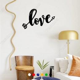 El Yazısı ile Yazılmış Love Yazısı Sticker 60x37cm