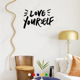 El Yazısı ile Yazılmış Love Yourself Yazısı Sticker 60x38cm