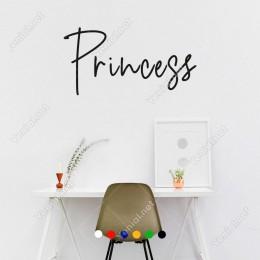 El Yazısı ile Yazılmış Princess Duvar Yazısı Sticker 60x30cm