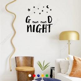 El Yazısı ile Yazılmış Sevimli Şekilde Good Night Yazısı Sticker 60x58cm