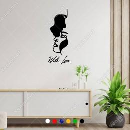 El Yazısı With Love Kadın ve Erkek Duvar Yazısı Sticker 60x24cm
