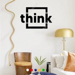 Küçük Harf ile Yazılmış Think Duvar Yazısı Sticker 60x40 cm