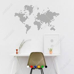 Nokta Nokta Dünya Haritası Duvar Oda Salon İş Yeri İçin Sticker 100x63cm