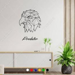 Predator Yazısı Ve Yırtıcı Kartal Duvar Yazısı Sticker 60x42cm
