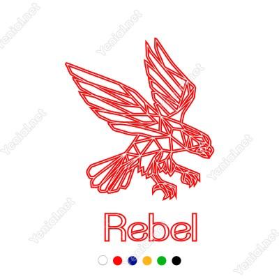 Rebel Yazısı Ve Yırtıcı Kartal Duvar Yazısı Sticker 60x42cm