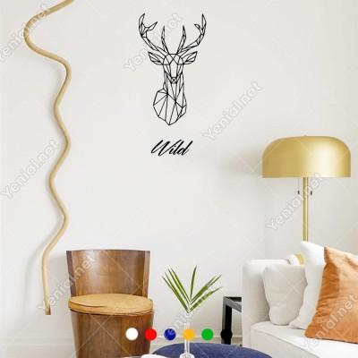 Wild Doğa Yazısı Ve Geyik Duvar Yazısı Sticker 60x28cm