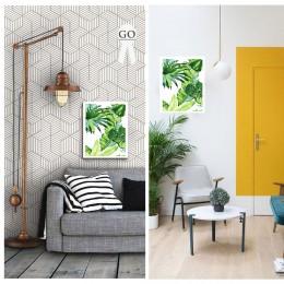 Duvar  İçin Resim Boyanmış Yaprak Deseni 35x25 cm
