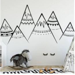 Tribal dağlar duvar çıkartması Sacndinavian kreş vinil duvar çıkartmaları çocuk odası deko