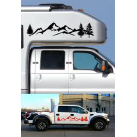Sıcak satış 2 * araba Sticker dağ çıkartma ağacı orman vinil grafik kiti Camper RV römork araba aksesuarları  CSV