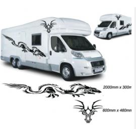 4 adet ejderha grafik karavan vinil etiketler çıkartmaları karavan RV karavan at binicisi