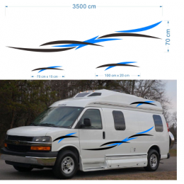 2x karavan karavan çekme karavan karavan çizgili grafik kartı (bir her) KK vinil grafik kiti çıkartmaları araba çıkartmaları