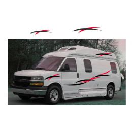 2x karavan karavan çekme karavan karavan çizgili grafik araba çıkartmaları vinil yapışkan kiti çıkartmaları