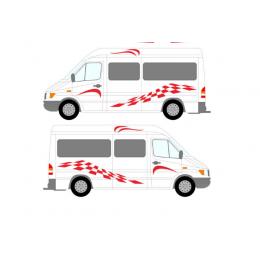 200cm x 28cm 2x kare çizgi grafik karavan vinil araba çıkartmaları çıkartmaları Set karavan RV karavan bir her tarafı