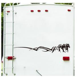 3 adet koşu atları hayvan Camper araba kamyon Sticker Jungel orman at araç kamp çıkartması vinil ev dekor