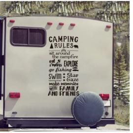 Kamp kuralları kamp römorku duvar Sticker macera seyahat keşfetmek aile arkadaş İlham alıntı duvar çıkartması çocuk odası vinil