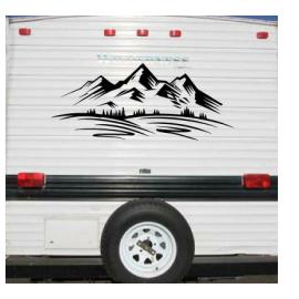 Büyük Camper RV römork kamyon dağ duvar Sticker kamp araba çadırı kamyon seyahat macera duvar çıkartması vinil ev dekor