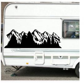 Camper RV Alaska kar dağ ve orman karavan Sticker macera seyahat kamp duvar çıkartması vinil ev deko