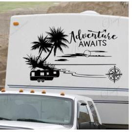 Macera bekliyor Rv Camper çıkartması, beşinci tekerlek vinil yapışkan motorlu ev çıkartması, plaj Rv dekor, okyanus palmiye ağacı dekorasyon