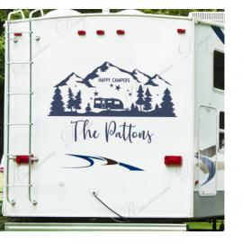 Kişiselleştirilmiş Rv çıkartması, özel son adı vinil yapışkan Rv, mutlu kampçılar, Camper dekor, karavan çıkartması