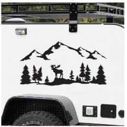 SUV RV Camper Offroad geyik ağaçları orman dağ siluet vinil sanat etiket araba dekor açık havada yürüyüş çıkartmaları dekorasyon