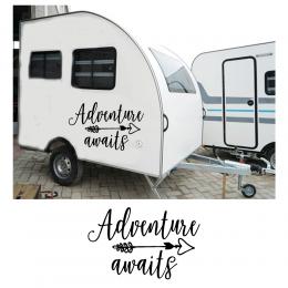 Kişiye Karavana Özel Adventure Waits Sticker Yapıştırma 150x65