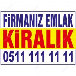 Firmamız Emlaktan Kiralık Branda Afişi (Sarı Mavi Renk)