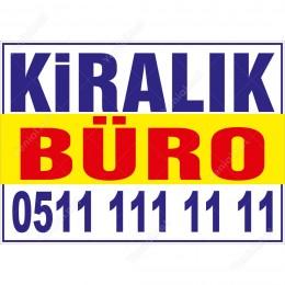 Kiralık Büro Daire Branda Afişi (Sarı Mavi Renk)