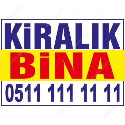 Kiralık Bina Branda Afişi (Sarı Mavi Renk)