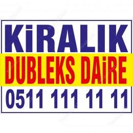 Kiralık Dubleks Daire Branda Afişi (Sarı Mavi Renk)