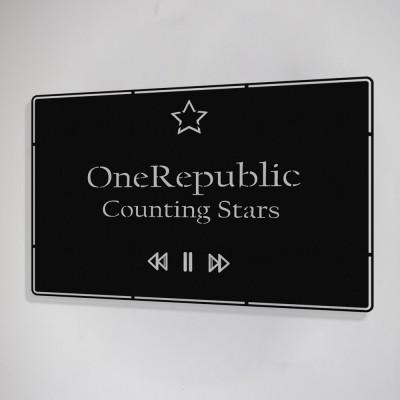 Benim Favori Şarkı Counting Stars ve Şarkıcım OneRepublic Tasarım Metal Tablosu 50x32cm