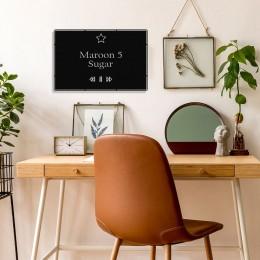 Benim Favori Şarkı Sugar ve Şarkıcım Maroon 5 Tasarım Metal Tablosu 50x32cm