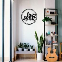 Çerçeve İçinde Jazz Music Yazısı Tasarım Metal Tablosu 50x50cm